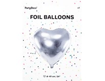 Balónek 61cm srdce stříbrná fólie 1x1ks