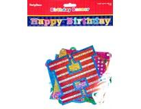 Banner s nápisem Happy Birthday 166cm hologram 1x1ks