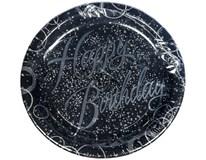 Talíř papírový pr. 23cm Happy birthday stříbrný 1x8ks
