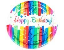 Talíř papírový pr. 23cm Happy birthday barevné pruhy 1x8ks