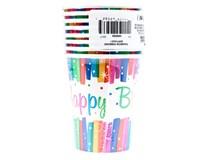 Kelímky Happy Birthday barevné pruhy 270ml 1x8ks