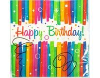 Ubrousky Happy Birthday 33x33cm pruhované 16ks