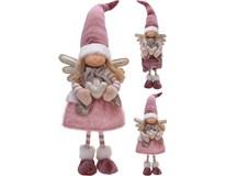 Anděl textilní 65cm růžový 2ASS 1ks