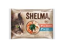 Shelma Kapsičky pro kočky losos/treska 4x85g