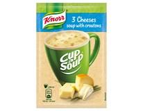 Knorr Cup a Soup 3 druhy sýrů krémová instantní polévka s krutony 38x17g