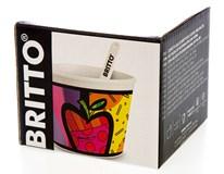 Pohár s lžičkou Bergner Apple Britto 250ml porcelán 1ks