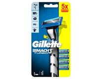 Gillette Mach3 Turbo Strojek rukojeť + 5 náhradních hlavic 1x1ks
