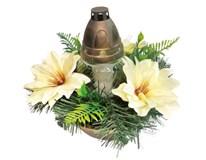 Dekorace květinová se svícnem DDZ-LA mix 1ks