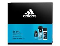 Adidas Ice Dive dárková sada (natural deodorant sprej 75ml+roll on 50ml+sprch. gel 250ml)