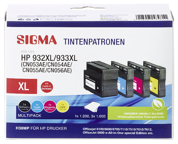 Sigma Tintenpatronen H38 Multipack