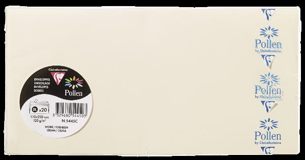 Pollen Briefumschläge Elfenbein DIN Lang - 20 Stück