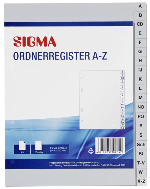Sigma Ordnerregister A-Z
