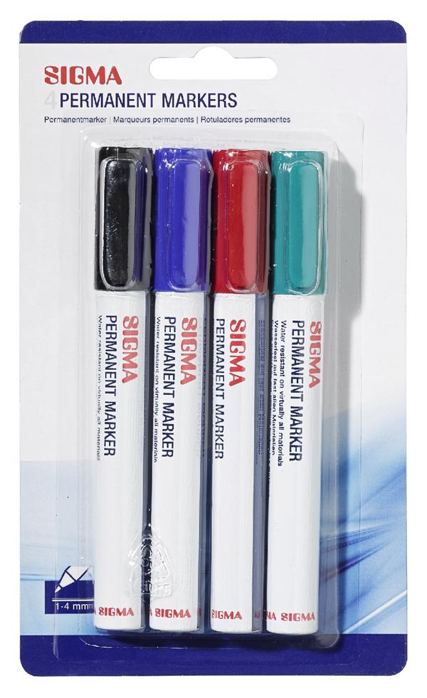 Sigma Permanent Marker Farbig sortiert - 4 Stück