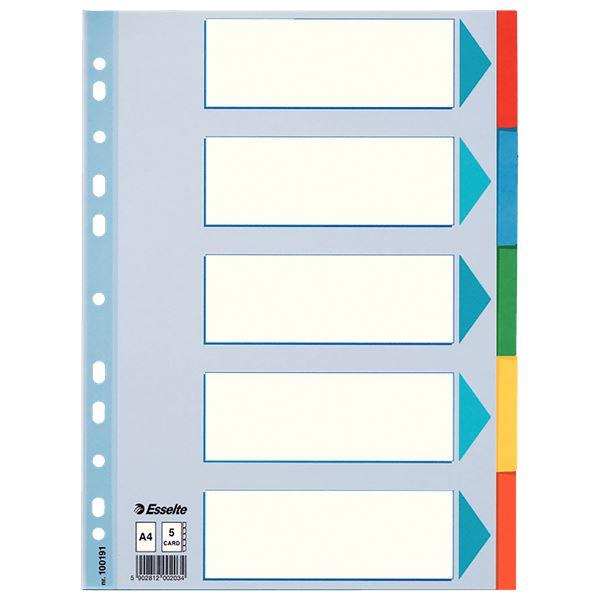 Esselte 100191 Register Blanko Karton A4 - 5 Taben