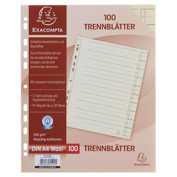 Exacompta Trennblätter DIN A4 Maxi - 100 Stück