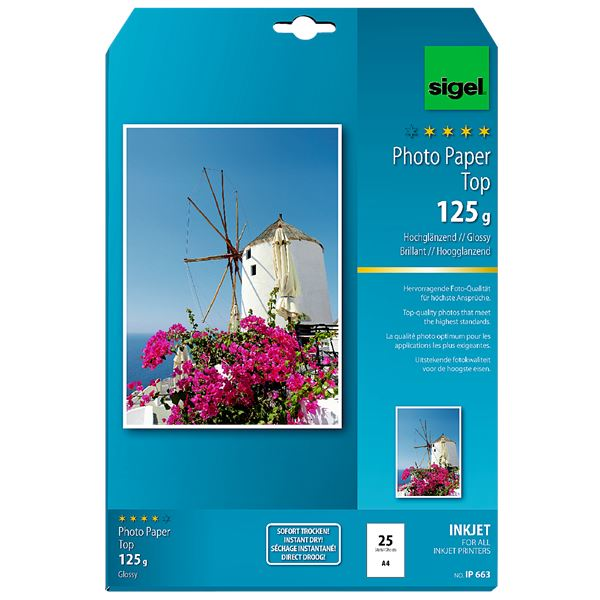 Sigel DIN A4 Inkjet Fotopapier Top IP 663 - 25 Blatt