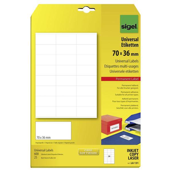 Sigel DIN A4 Universal-Etiketten 70 x 36 mm - 25 Blatt