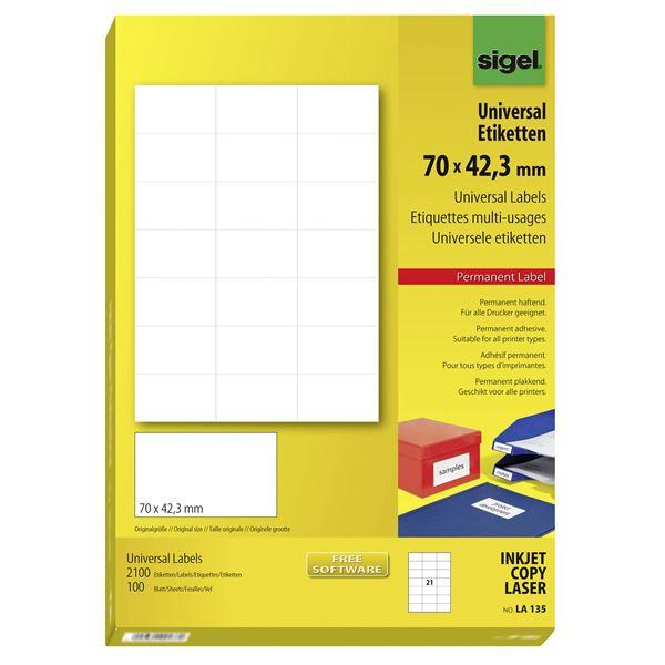 Sigel Universal-Etiketten 70 x 42,3 mm DIN A4 - 100 Blatt