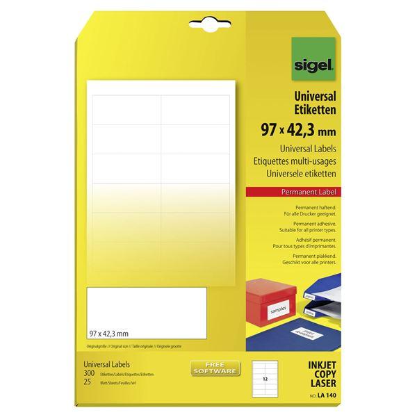 Sigel DIN A4 Universal-Etiketten 97 x 42,3 mm - 25 Blatt