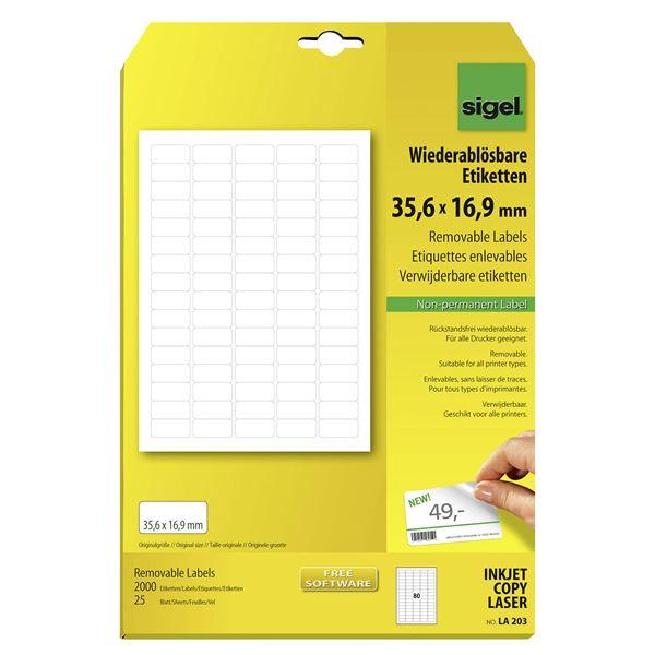Sigel Wiederablösbare Etiketten 35,6 x 16,9 mm DIN A4 - 25 Blatt
