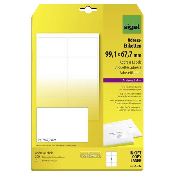 Sigel DIN A4 LA322 Adressetiketten 99,1 mm  x  67,7 mm Weiß - 200 Stück
