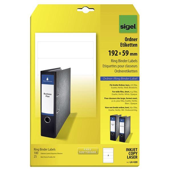 Sigel Ordner-Etiketten 192 x 59 mm DIN A4 - 25 Blatt