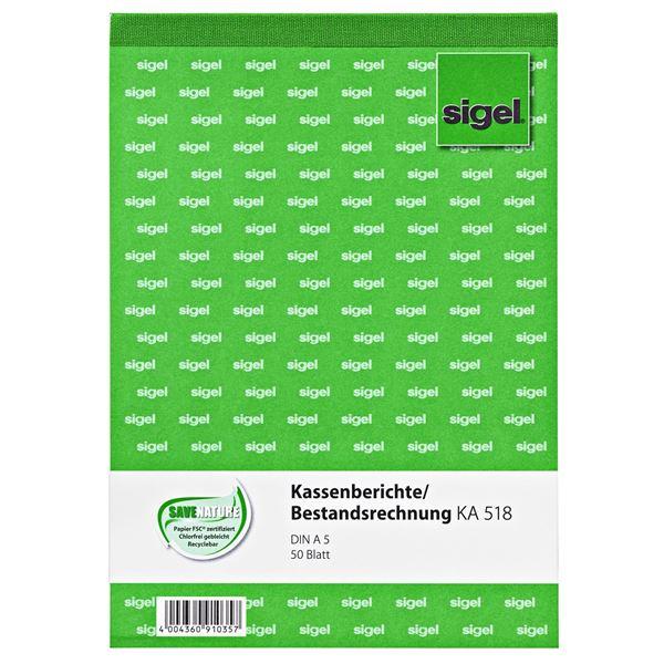Sigel DIN A5 KA518 Kassenberichte/Bestandsrechnung