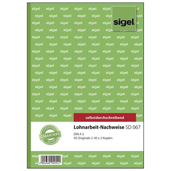 Sigel DIN A5 Lohnarbeits-Nachweise SD 067 - 3 x 40 Blatt