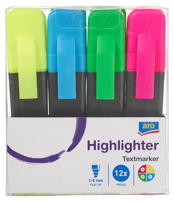 aro Textmarker sortiert Blau, Gelb, Grün, Rot - 12 Stück