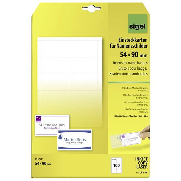 Sigel PC-Einsteckkarten für Namensschilder - 10 x 100 Stück