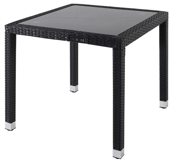 Smart Solar USB Tisch  Barbados 80 x 80 cm Schwarz