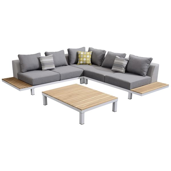 Tarrington House Sofa Set Grau, Teak, Weiß