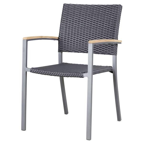 METRO Professional Stuhl Teak mit Armlehnen Schwarz