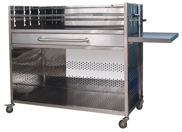 METRO Professional Holzkohle Grillwagen Edelstahl