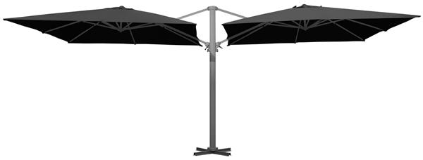 METRO Professional Doppelampelschirm je 3 x 3 m Anthrazit
