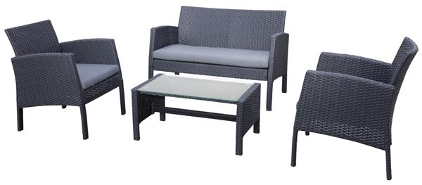 Rattan Sofa Set  Schwarz