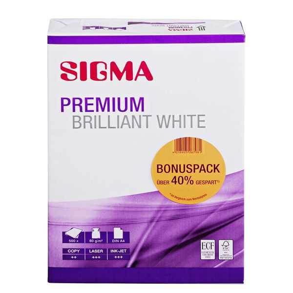 Sigma DIN A4 Kopierpapier Bonus Pack 80 g/m² - 2 x 500 Blatt