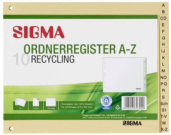 Sigma Ordnerregister A-Z - 10 Stück