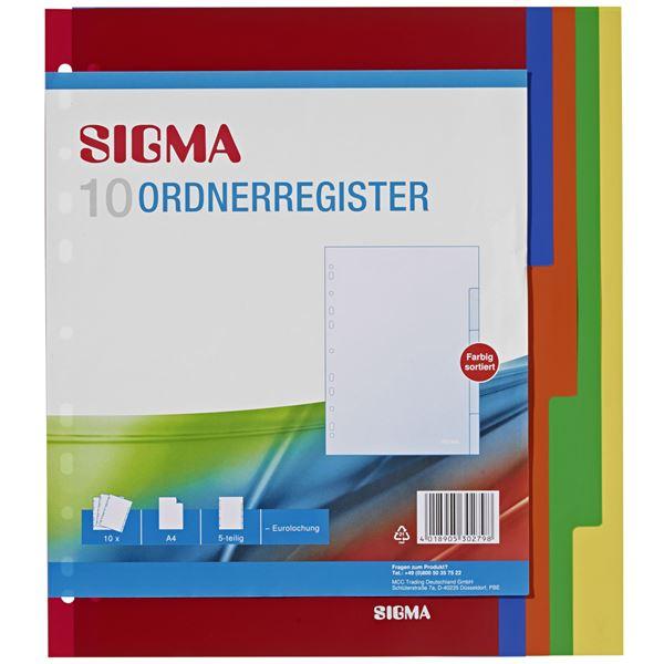 Sigma Ordnerregister A4 - 10 Stück