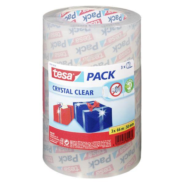Tesa Pack Crystal Clear 50 mm  x  66 m Kristallklar - 3 Rollen