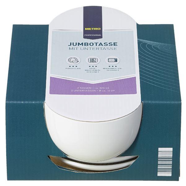 METRO Professional Jumbotasse mit Untertasse 4 tlg. ca. 325 ml