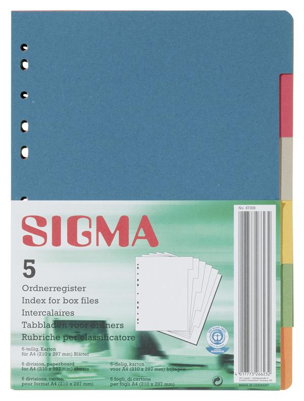 Sigma Ordnerregister - 5 Stück