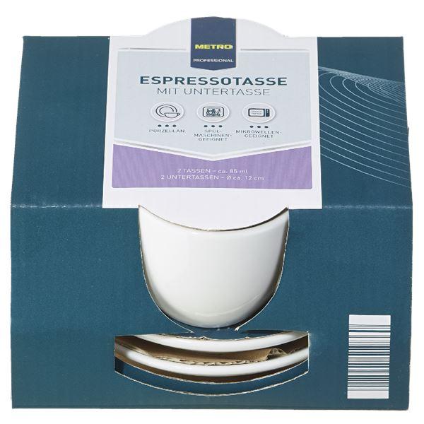 METRO Professional Espressotasse mit Untertasse 4 tlg. ca. 85 ml
