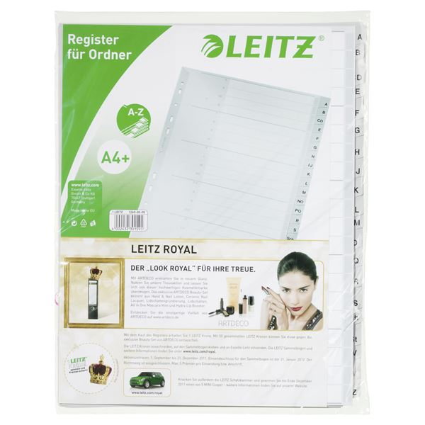 Leitz Plastikregister4 überbreit-Z  238 mm  x  297 mm - 20 Blatt