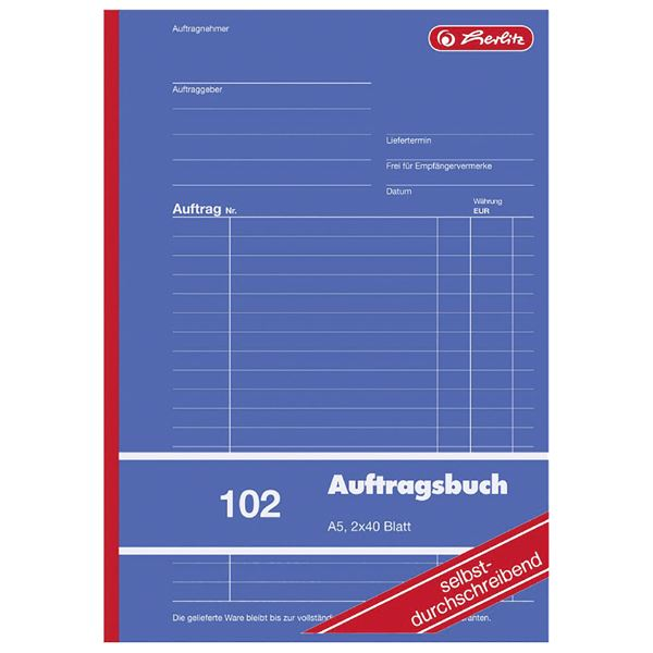 Herlitz 102 Auftragsbuch A5 - 5 x 2 x 40 Blatt