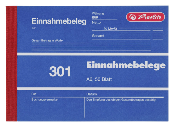 Herlitz Einnahmebelege DIN A6 quer - 5 x 250 Blatt