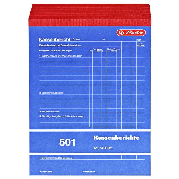 Herlitz 501 Kassenberichtsblock A5 - 10 x 50 Stück