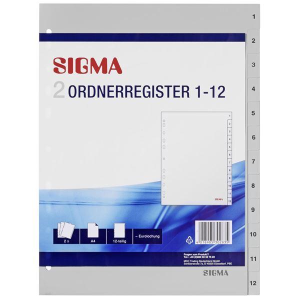 Sigma Ordnerregister A4 - 2 Stück