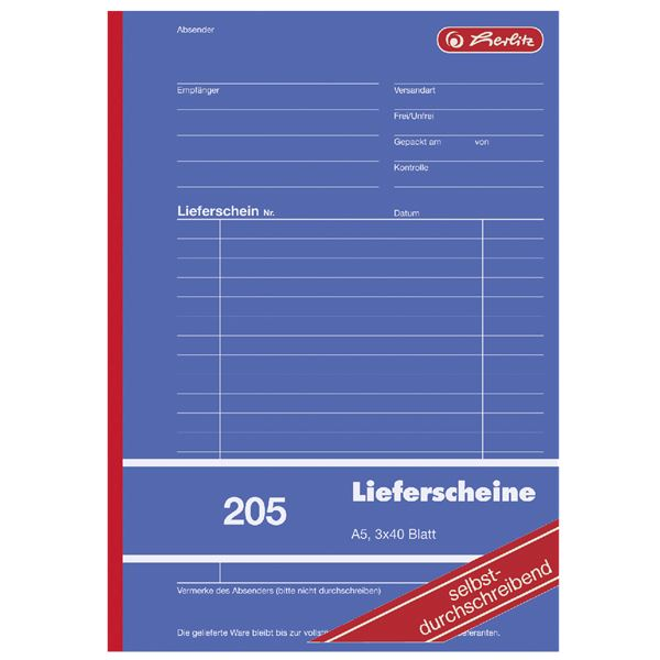 Herlitz 205 Lieferscheine A5 - 5 x 3 x 40 Blatt