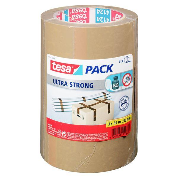 Tesa Packband 50 mm  x  66 m Braun - 3 Stück